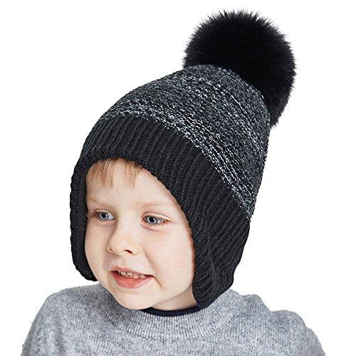 SOMALER Toddler Winter Hats For Boys Ear Flap Beanie Kids Real Fox Fur Pom Pom Beanie (Childrens Ear Flap Beanie)