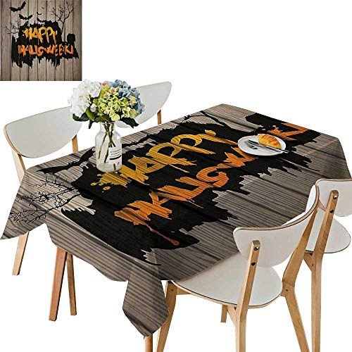 UHOO2018 Printed Fabric Tablecloth Square/Rectangle Happy Halloween Graffiti Style Lettering on Rustic Wooden Fence Scary Evil Effect Art Wedding Party Restaurant,52 x 70inch]()