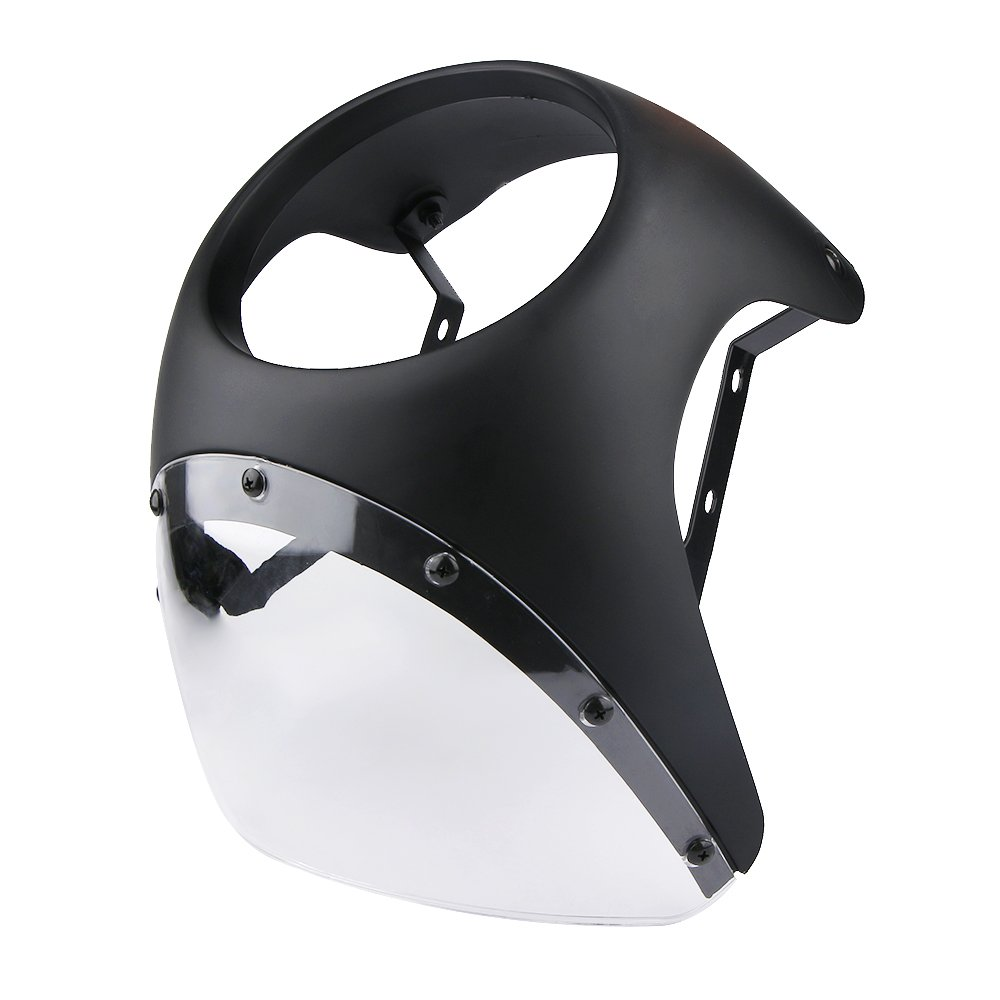 Qlhshop Retro Cafe Racer Style Motorcycle Fairing /& Screen Universal Fit 7 Headlight Black with clear lens
