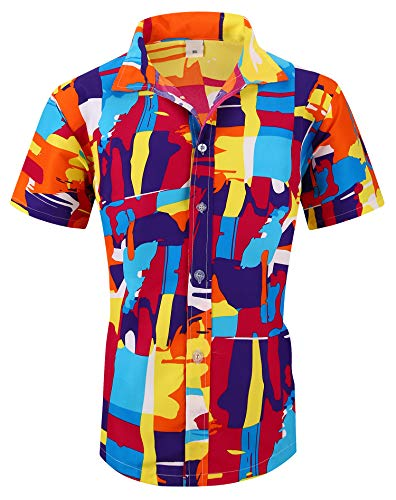 - XTAPAN Men Short Sleeve Shirt-Flower Leaf Palm Tree Print Camp Button Down Hawaiian Shirt US XL=Asian 5XL Orange 1308