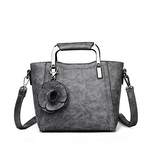 Wild Flower Four Handbag Shoulder Gray Arm New Messenger Simple One Bag Seasons Jianfcr Fashion Decorative Size Rivet Size color pxqvt7wwdY