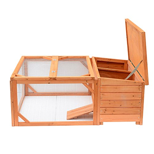 Pawhut Small Wooden Bunny Rabbit & Guinea Pig / Chicken Coop w/ Outdoor Run by PawHut (Image #4)