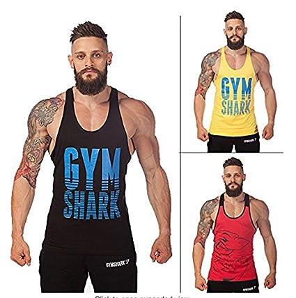 abcd8c4dcbb77 Amazon.com : Gym Shark Tank Top Men Gym Fitness Mens Sleeveless Shirts  Singlet Sport Breathable Bodybuilding Fashion Vest : Everything Else