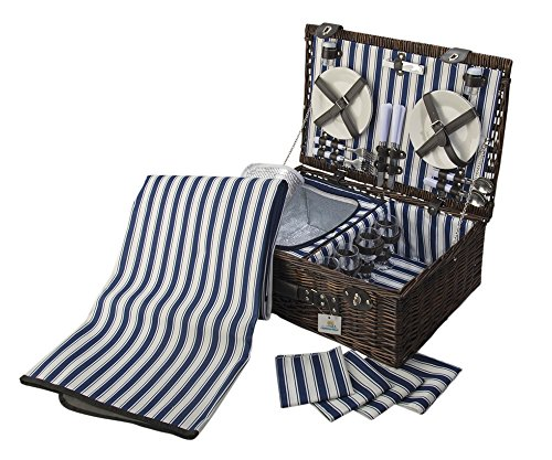 4 Person Wicker Picnic Basket: Deluxe Woven Willow Vintage Hamper Set - Porcelain Plates, and Glass Wine Glasses; Free Cold Storage Bag; Extra-Large. (Willow with Blanket/Napkins)