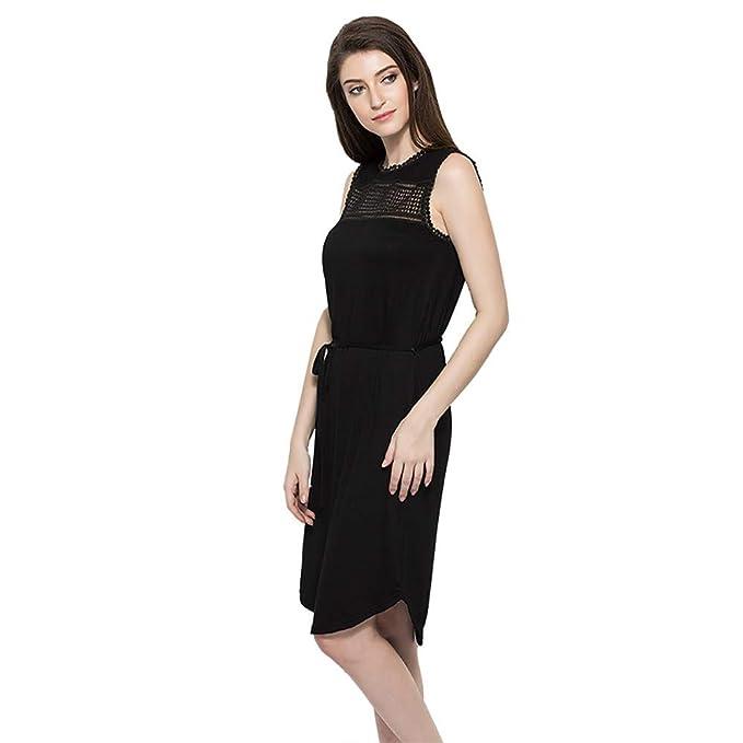 33091b9851d HHei K Women Summer Thin Knitting Leisure Tank Dress High Waistline Casual  Home Knit Mini Shirt Dress at Amazon Women s Clothing store