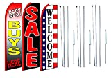 Best buys here sale Welcome In King Swooper Feather Flag Sign Kit With Complete Hybrid Pole set- Pack of 3