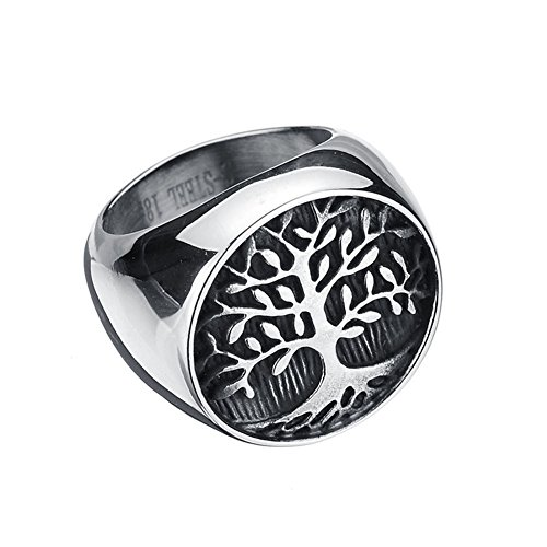 (JAJAFOOK Mens 316L Stainless Steel Ring, Classic Gothic Tree of Life, Black Silver)