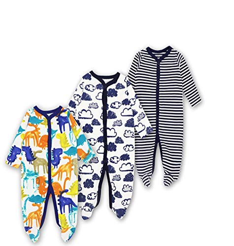 Mothernest Baby Boys' Footed Pajamas Sleeper 3 Pack Long Sleeve for Snap Sleep Play (Cat Car Star 10-12M)