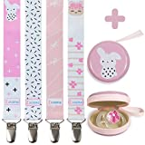 Liname Pacifier Clip for Girls - 4 Pack + BONUS Pacifier Case - Premium Quality & Adorable Design - Pacifier Clips Fit all Pacifiers & Soothers - Perfect Baby Shower Gift