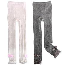MyKazoe Girls Solid Knit Footless Ruffle Tights
