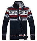 Product review for Men's Winter Stand Collar Knitted Snowflakes Pattern Zip Up Cardigan Sweater