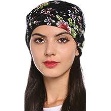 Ababalaya Women's Elegant Floral Lace Turban Cap Chemo Cancer Beanie Cap Nightcap