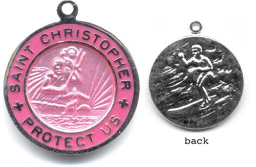 Small Pink//Fuchsia Get Back Designs St Christopher Surf Medal