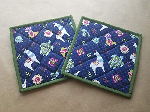 Llama Rooster and Turtle Potholders Set of 2, Whimsical Kitchen Linens, Llama Themed Home Decor, Quilted Hot Pads, Insulated trivets, Animal Themed Kitchen Linens, Gifts Under 20 by LuLu Belle Quilts