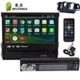 7In Single-DIN Android 6.0 Car Stereo Receiver With 2GB RAM Bluetooth GPS Navigation - Touchscreen Detachable Front Panel With Wi-Fi Web Browsing, App Download, CD/DVD Player and Backup Camera
