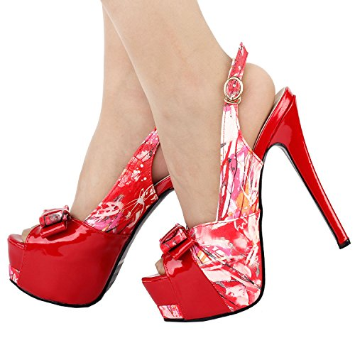 LF80904 Pump Glam Bow Story Floral Toe Slingback Peep Stiletto Platform Double Red Show q5PvwnP