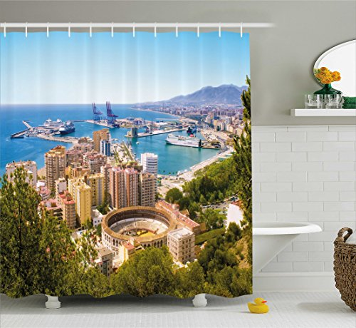 Ambesonne Landscape Shower Curtain, Aerial View of Malaga with Bullring and Harbor Spain Traditional European City, Fabric Bathroom Decor Set with Hooks, 70 Inches, Multicolor by Ambesonne