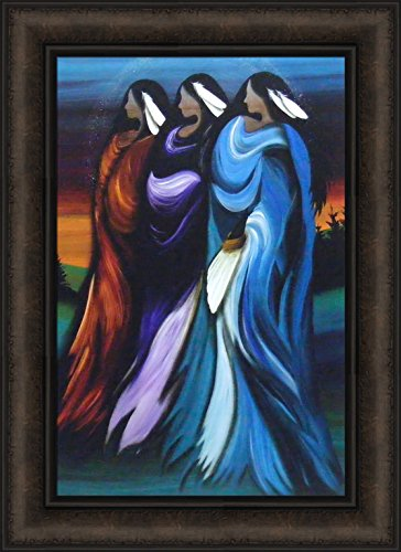 Home Cabin Décor Three Sisters by Betty Albert 16x22 Cree Indian Native American Women Framed Art Print Picture