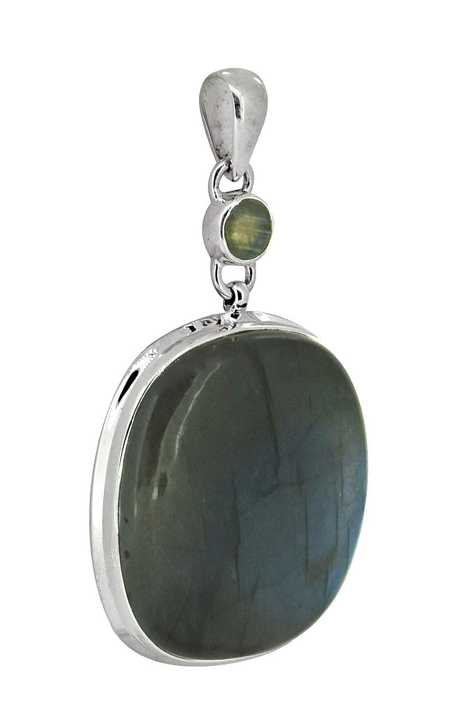 YoTreasure 3 Labradorite Solid 925 Sterling Silver Chain Pendant