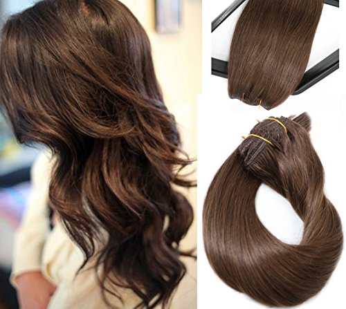 Clip in Hair Extensions Real Human Hair Extensions Medium Brown 70g 7 Pieces Silky Straight Weft Remy Hair (15 inches, #4) (Keratip Extensions)
