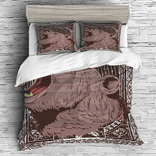 Covers Animal Print Futon - 3 Pieces (1 Duvet Cover 2 Pillow Shams)/All Seasons/Home Comforter Bedding Sets Duvet Cover Sets for Adult Kids/Queen/Animal Print,Illustration of the Growling Grizzly Bear Head with Sharp Teeth Print