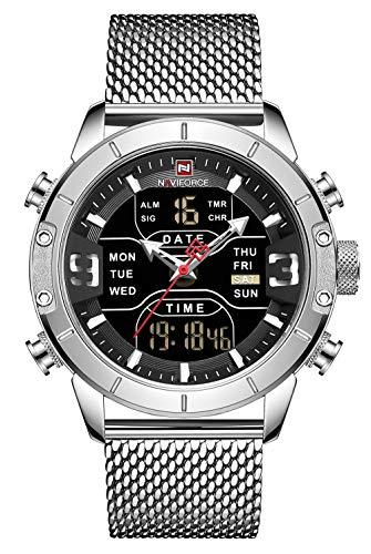 NAVIFORCE Men Sports Waterproof Stainless Steel Military Analog Digital Quartz Watches