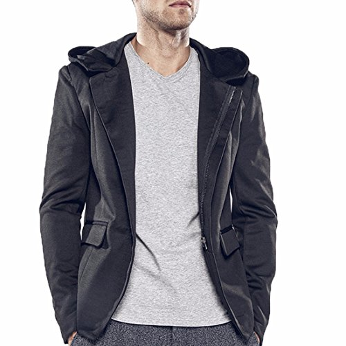 - Paixpays Men's Casual Cotton Slim Hoodie Suit Jacket Blazer Sports Coat Zipped