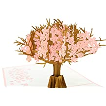 PopLife Cherry Blossom Mothers Day Pop Up Card for All Occasions - For Mother's Day, Happy Birthday, Graduation, Anniversary, Get Well, Sympathy - Cherry Blossom Pop Up Card - Fold Flat for Mailing