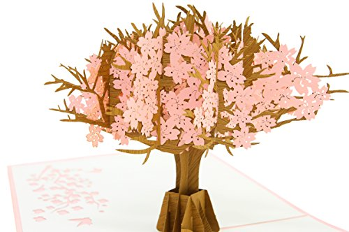 PopLife Cherry Blossom Mothers Day Pop Up Card for All Occasions - For Mother's Day, Happy Birthday, Graduation, Anniversary, Get Well, Sympathy - Cherry Blossom Pop Up Card - Fold (Happy Day Invitation)