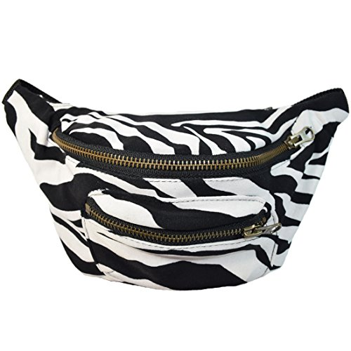 Price comparison product image Funky Animal Print Fanny Pack, Stylish Party Boho Chic Handmade with Hidden Pocket by Santa Playa (Sassy Zebra)
