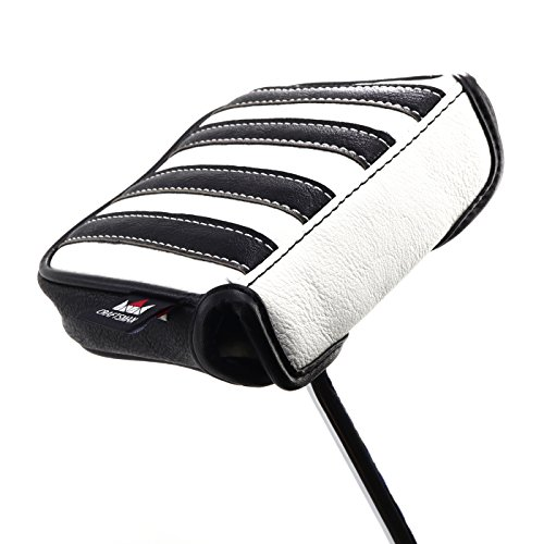 Craftsman Golf Black with White Stripes Square Mallet Putter Cover For Odyssey PGX Taylormade Spider Putter (Square Mallet Cover)