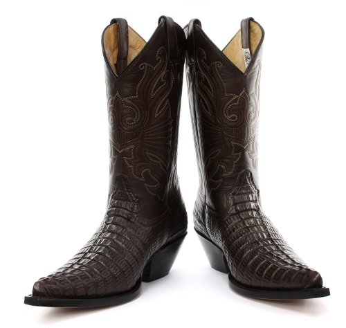 Grinders Carolina Herren Western Cowboy Stiefel, Braun