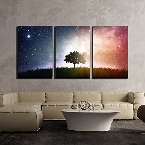 a Single Tree in a Field with Beautiful Space Background x3 Panels