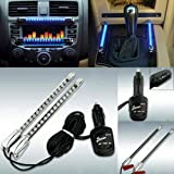 HDE 2 Piece Light Strip Car Interior Accent 15 LED Sound Activated Accent Light with Car Charger (Neon Blue)