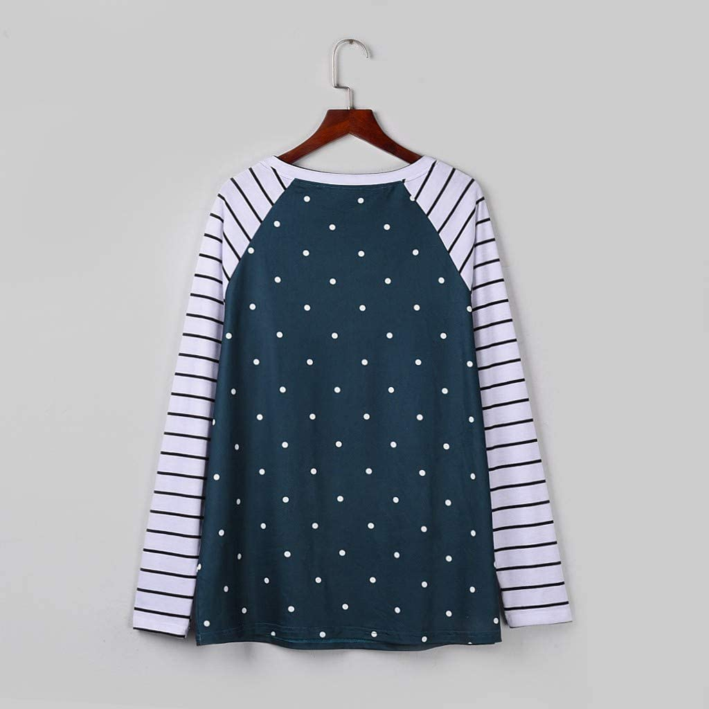 Womens Long Sleeve Striped Raglan T Shirt Crew Neck Polka Dot Pullover Sequins Chest Pocket Color Block Sweatshirt Loose Casual Tops Blouse