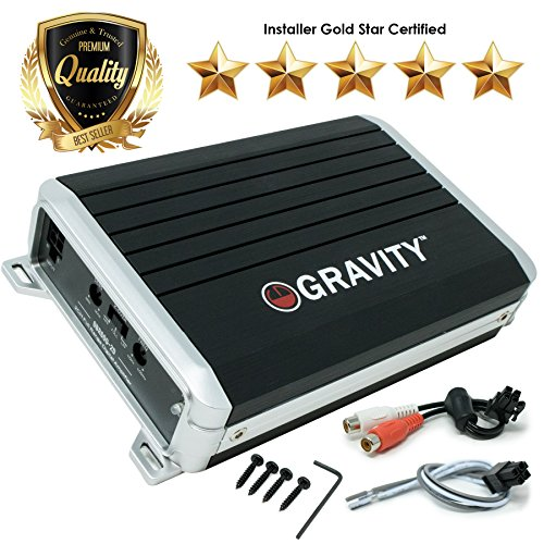 (Gravity GBR600.2D True 300-Watt RMS Micro Ultra Compact Digital 2-Channel Full Range Amplifier with RCA Stereo input - Perfect for Motorcycle, RV, ATV, Car, Boat,)