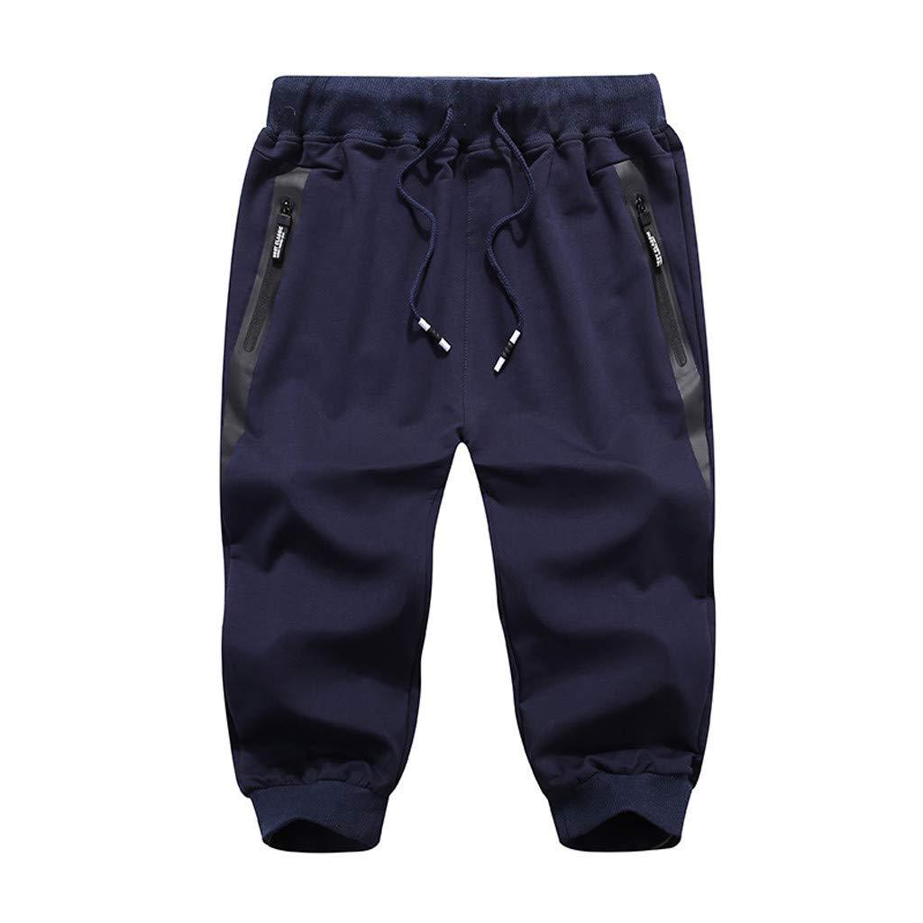 Leadmall Pants Men's Sports Capri Shorts - Men Jogger Breathable High Elasticity Elastic Waist Sweatpants - Safety Zipper Pockets Workout Shorts (32, Dark Blue)