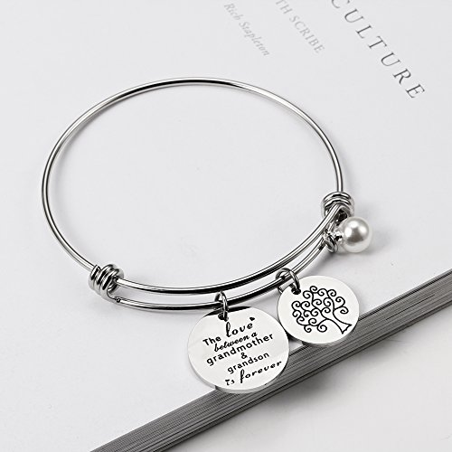 Meibai Grandmother Bracelet Stainless Steel Message Cuff Bangle Personalized Gift for Mother Nana (The Love Between Grandmother and Grandson is Forever) by Meibai (Image #1)