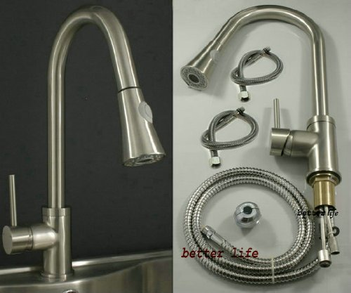 Single Handle Kitchen Sink Pull Out Spray Mixer Tap Faucet, Nickel Brushed M1A2