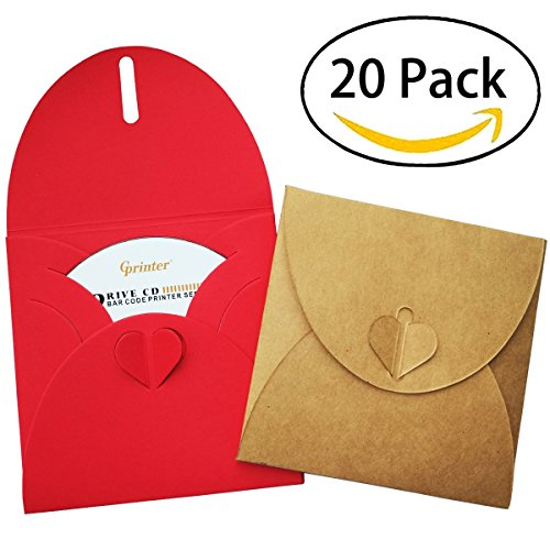 20 Pieces CD/DVD Kraft paper Cases, Blank Retro Love Disc Storage Jewel sleeves Envelope with heart button for Wedding Party, 2 colors each 10 pieces