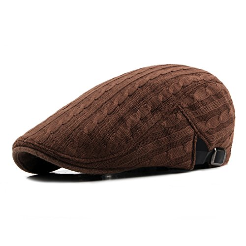Pigment Dyed Newsboy Cap - WAZZIT Solid Color Newsboy Caps Knitted Flat Cap Wool Duckbill Hat Ivy Golf Beret Hats - Brown