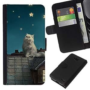 YiPhone /// Tirón de la caja Cartera de cuero con ranuras para tarjetas - Gato blanco Estrellas - LG OPTIMUS L90
