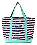 Fashion Heavy Duty Canvas Tote Bag Can be Personalized (Flamingo Stripe - Embroidered Name)