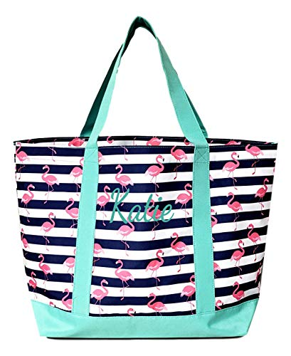 Fashion Heavy Duty Canvas Tote Bag Can be Personalized (Flamingo Stripe - Embroidered Name) by SONA G DESIGNS