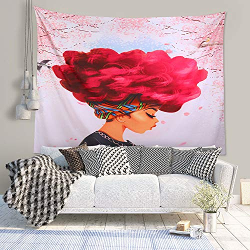 Unitendo African American Black Girl Colourful Print Wall Hanging Tapestries Indian Polyester Picnic Bedsheet Afro Wall Art Decor Hippie Tapestry, 80''X 60'' ()