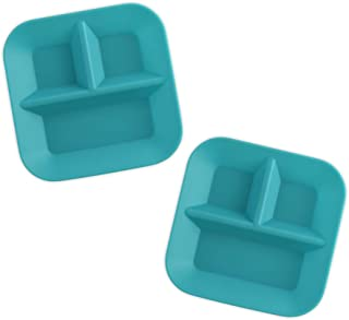 product image for KIDDIEBITES | 100% Silicone Plates for Babies & Kids | Made in The USA | BPA, BPS, Lead, Cadmium, PVC, & Phthalate Free | Children's Divided Placemat Set | Teal, 2 Pack