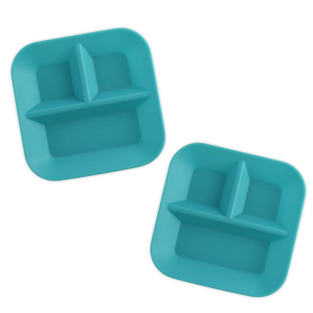KIDDIEBITES   100% Silicone Plates for Babies & Kids   Made in The USA   BPA, BPS, Lead, Cadmium, PVC, Phthalate Free   FDA Approved Silicone   Child's Divided Placemat Set   Teal, 2 Pack