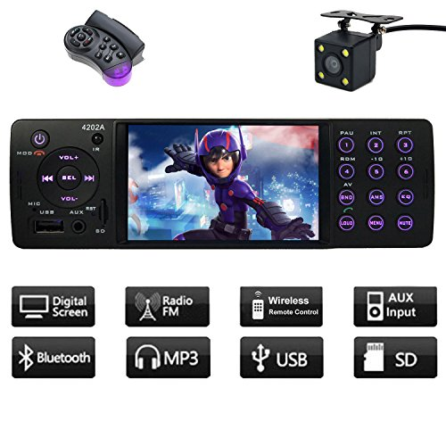 CACA Indash Car Stereo With Bluetooth Single Din FM Radio for Universal MP5 Player USB/SD/AUX/FM Receiver Wireless Remote Control - Card Slot Filler Panel