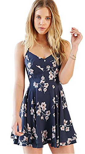 Arctic Cubic Sexy Spaghetti Strap Strappy Blue Floral Mini A Line Sundress Beach Summer Dress M A-line Spaghetti Straps Mini