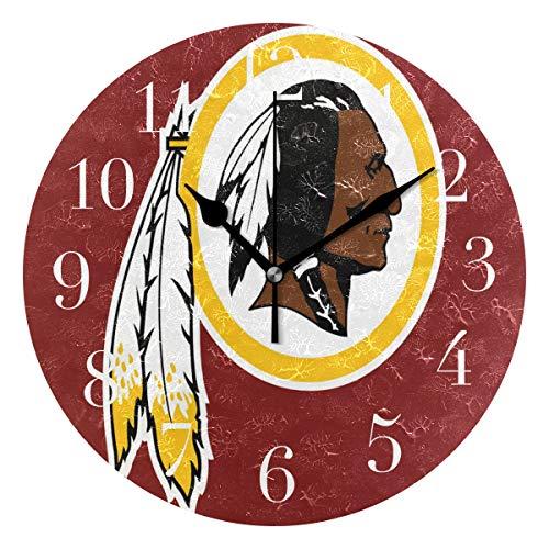 FunnyCustom Round Wall Clock Washington Redskins Clip Art Acrylic Creative Decorative for Living Room/Kitchen/Bedroom/Family